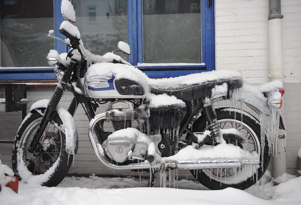 motorcycle in snow