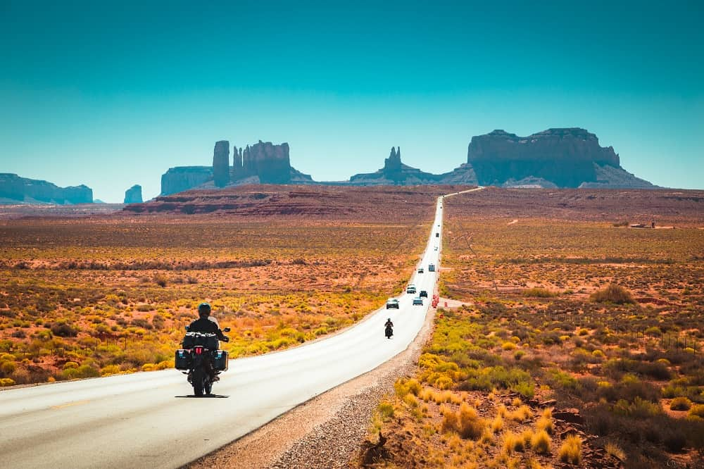 Biker on Monument Valley
