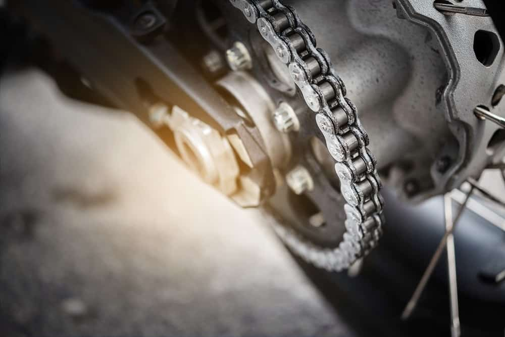 Close up motorcycle chain