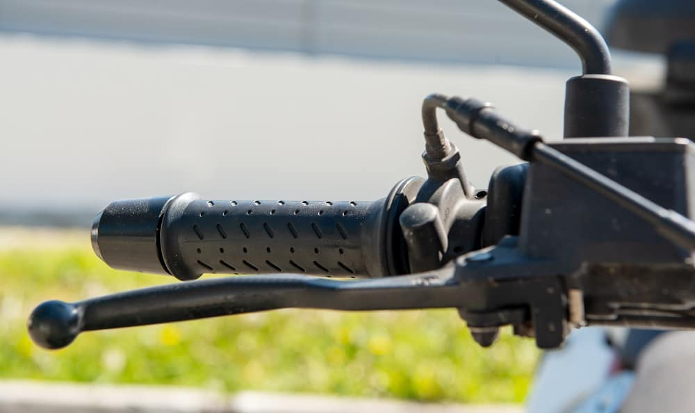 a close up shot of motorcycle brake lever