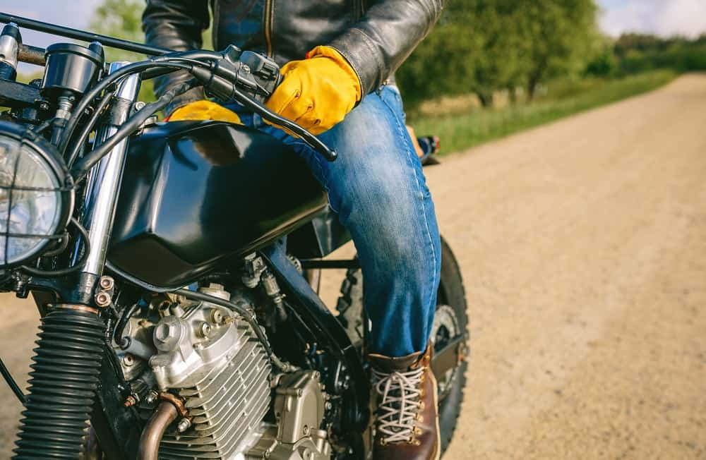 bike rider with motorcycle jeans